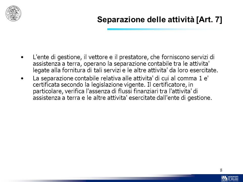 Separazione delle attività [Art. 7]